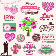 Valentine Day ornament and labels vector set 02