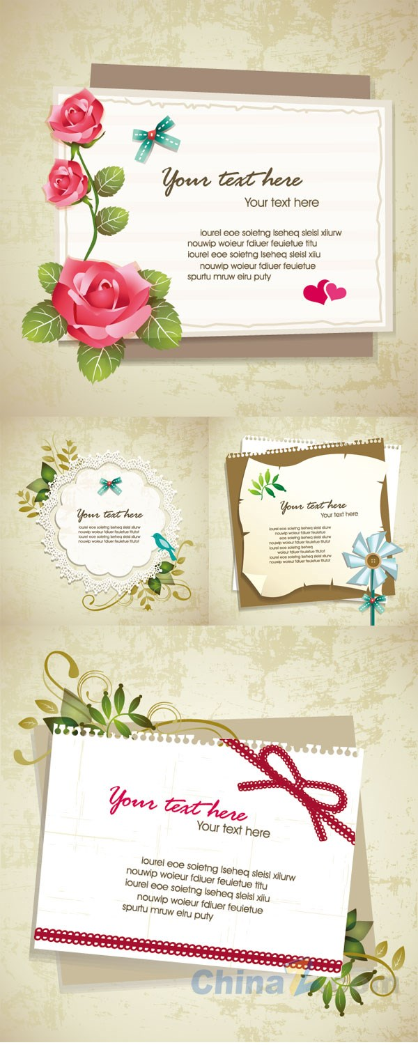 Plant decoration note vector templates
