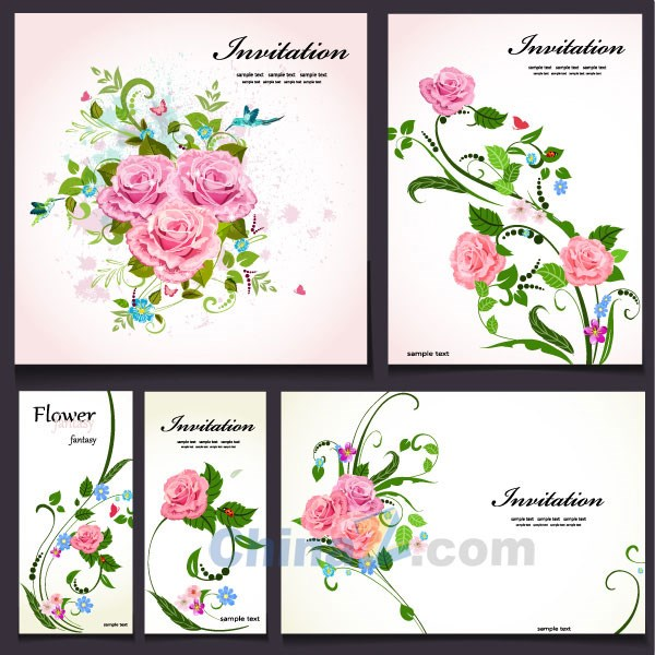 Roses decorative card vector