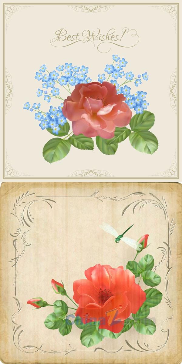 Retro romantic flower cards vector