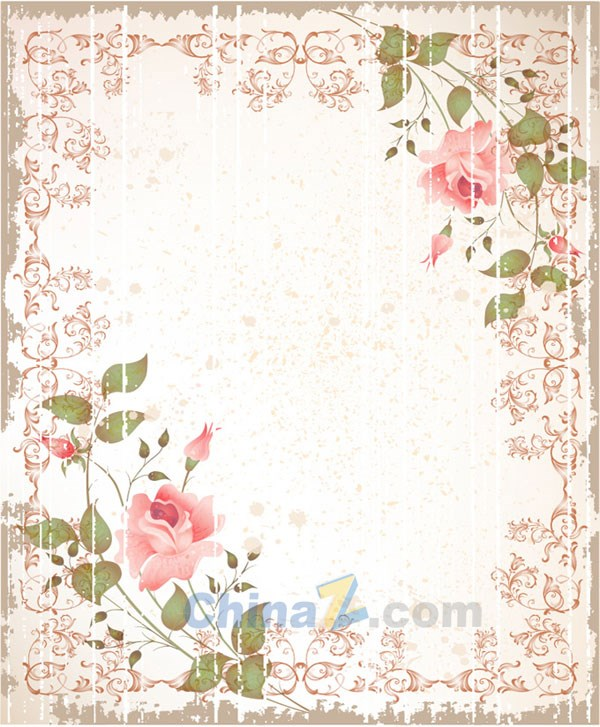 Vintage rose border vectors