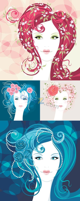 Creative flower girls vector design