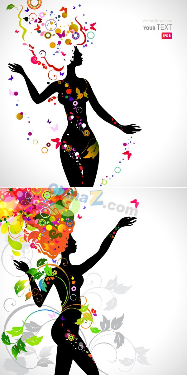 Decorative beautiful silhouette vector