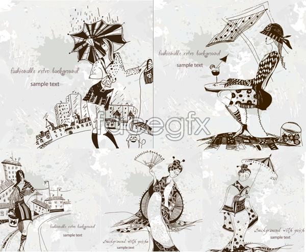 Fashionable female illustrations Vector
