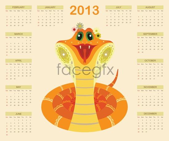 2013 year calendar Vector