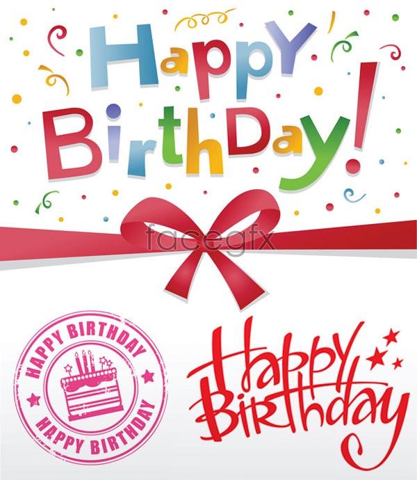 Birthday card ribbons Vector