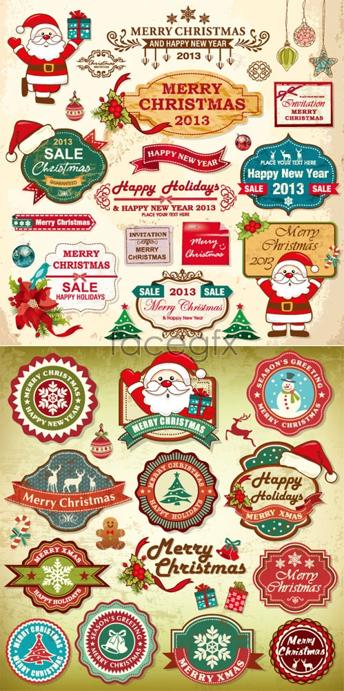Christmas card labels Vector