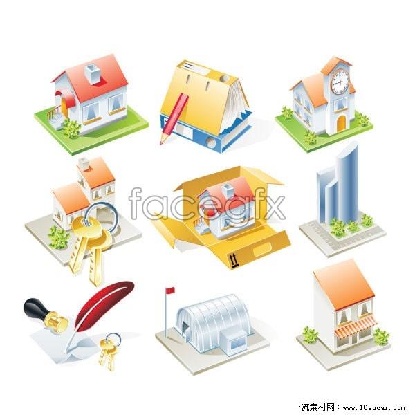 9 housing icon vector