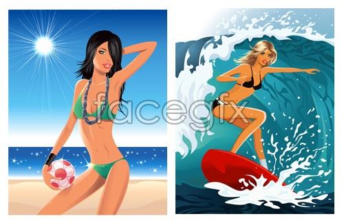 Beach foreign beauty Vector