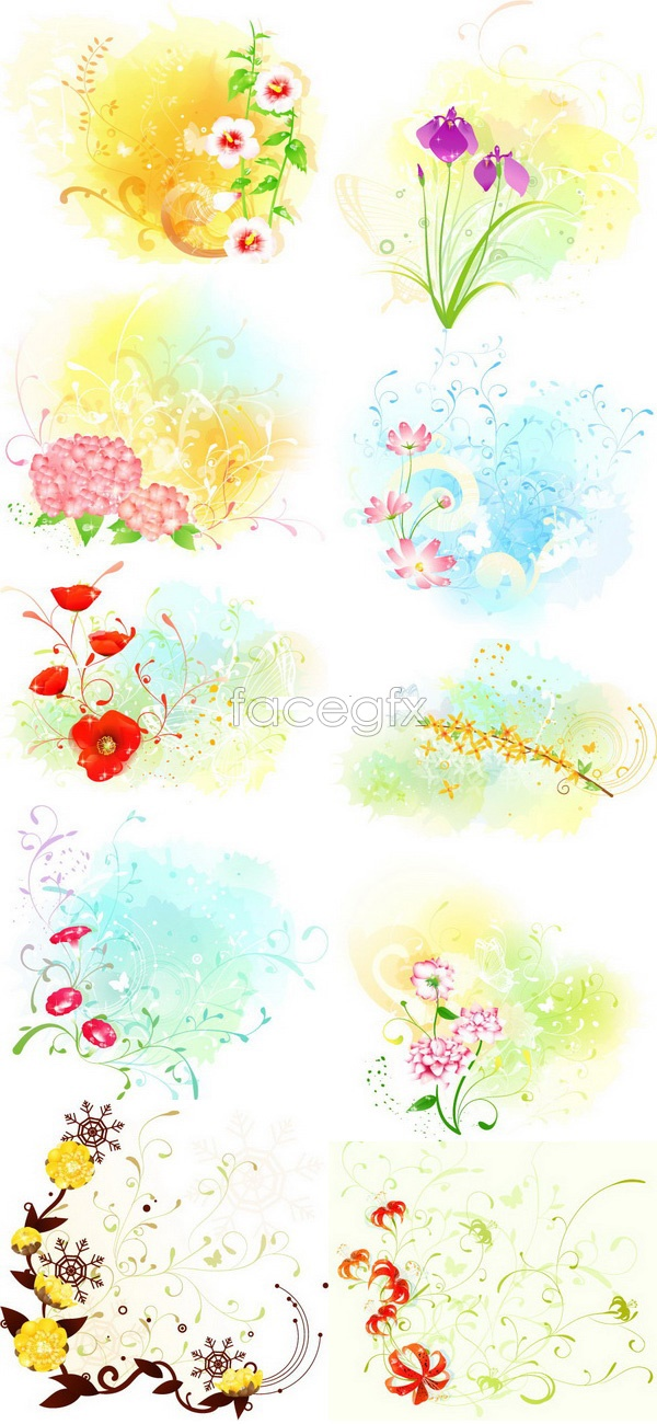 Beautiful floral pattern 4 Vector