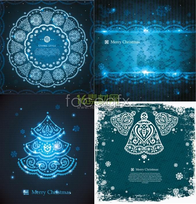 Blue Christmas decoration pattern background