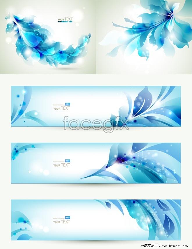 Blue flower, banner background vector