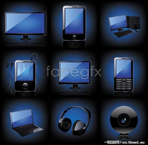 Blue icon vector  technology digital products II