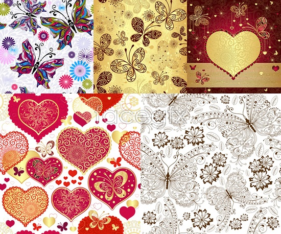 Butterfly heart pattern background Vector