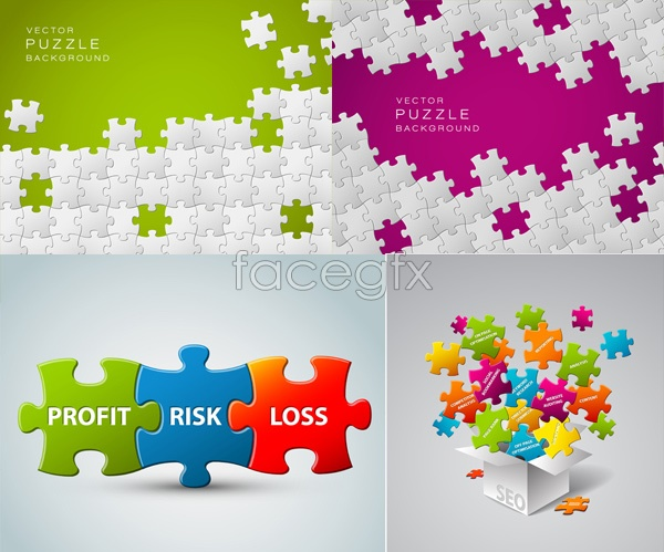 Colorful puzzle footage Vector