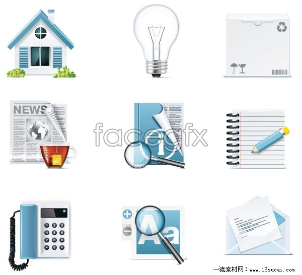 Common items four icon vector