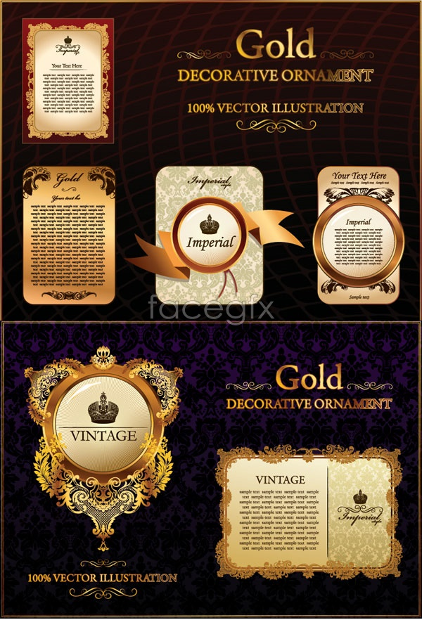 Continental pattern of gold lace Vector
