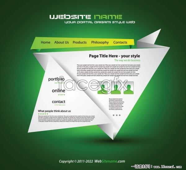 Creative origami design vector  website III