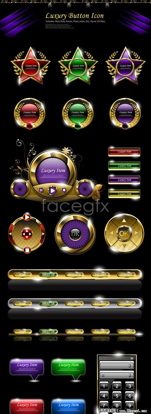 Deluxe Web pages frequently used buttons, vector