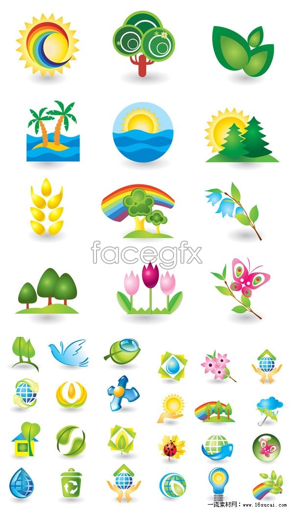 Eco-nature icons vector graphics