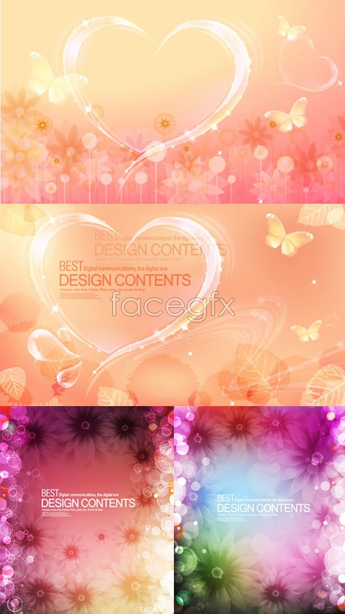 Fantasy Butterfly flowers background Vector