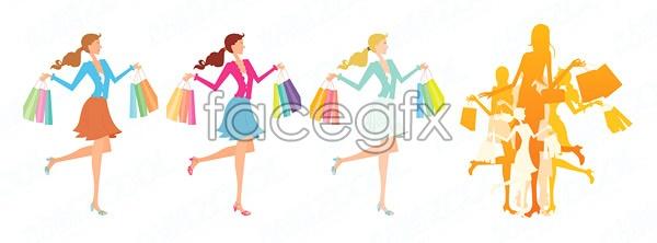 Fashion shopping women Vector