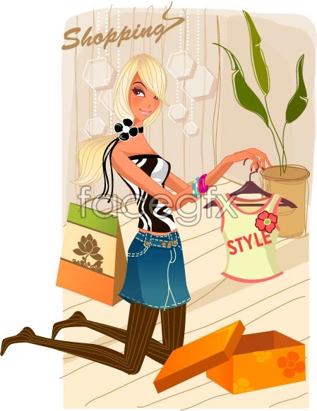 Fashion women Shop 3 Vector