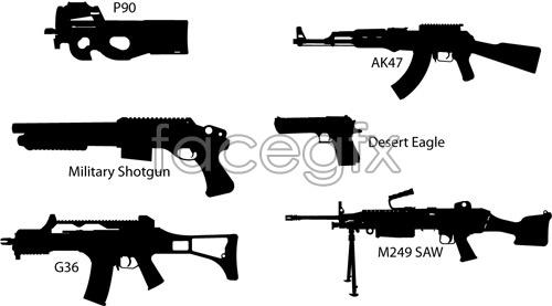 Firearm silhouettes vector