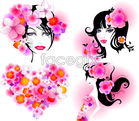 Flower dress woman sketches Vector
