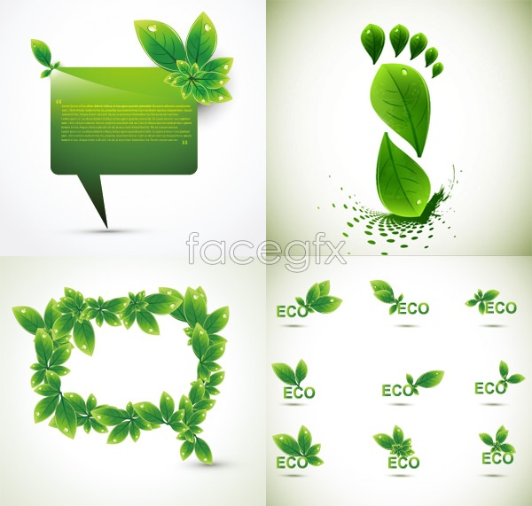 Green leaf shape border Vector