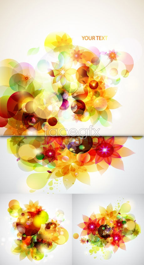 Light colored floral decorations Vector