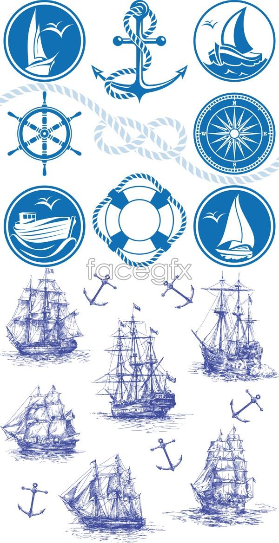Marine navigation elements Vector