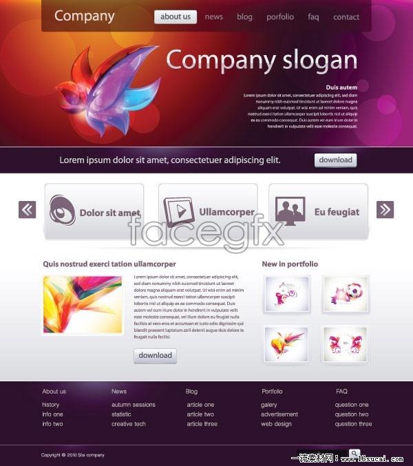 Minimalist Web design templates three vector