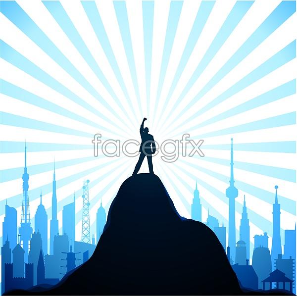 Standing on the highest peak Vector