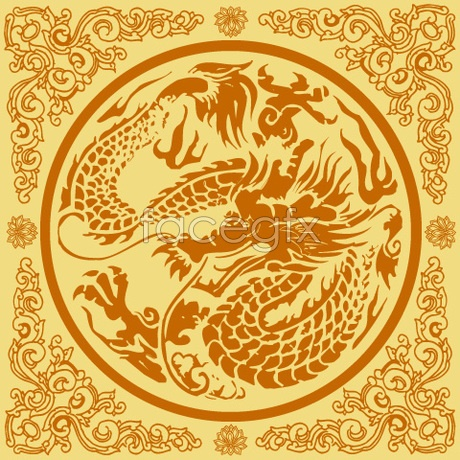 The classical Chinese dragon tattoo Vector