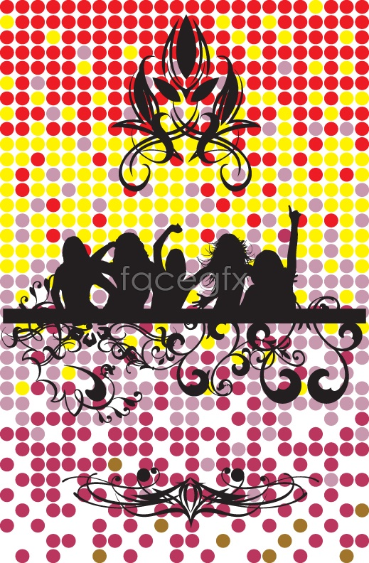 Trend pattern of female silhouette Vector