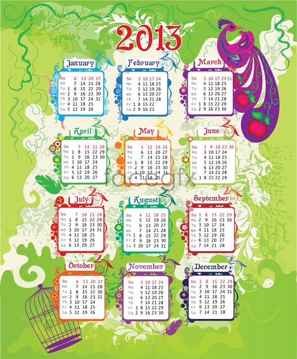 2013 calendar of patterns Vector
