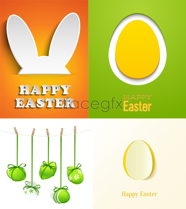 Beautiful Easter cards Vector