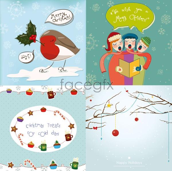 Beautiful holiday illustration greeting cards Vector