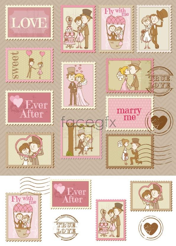 Cartoon wedding stamps Vector