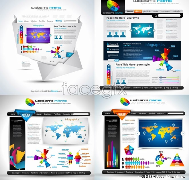 4 Europe site template vector