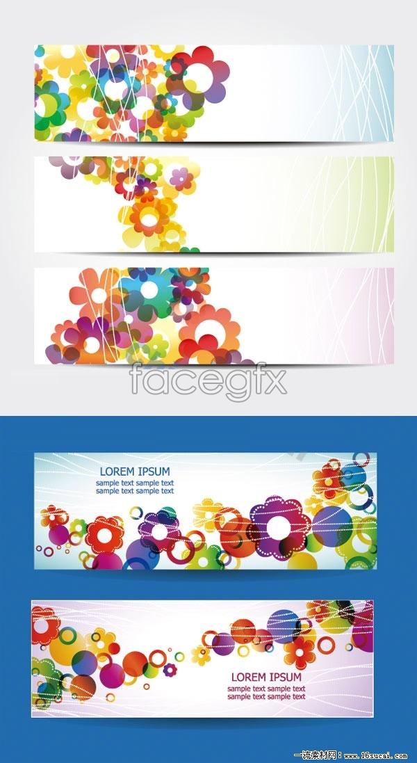 5 current floral banner background vector map