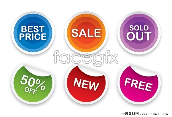 6 page sticker tag vector