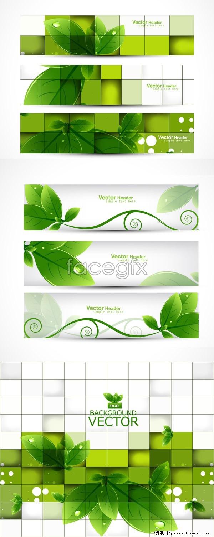 7 leaf creative banner vector