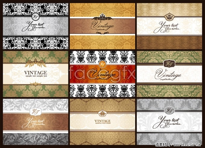 9 classical pattern business card background vector
