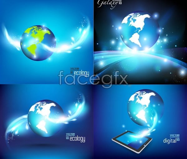 Blue Earth cards Vector