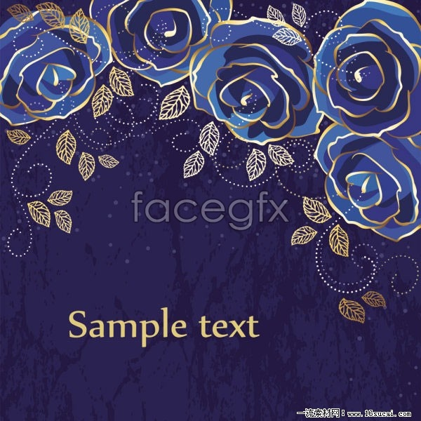 Blue rose flower background vector