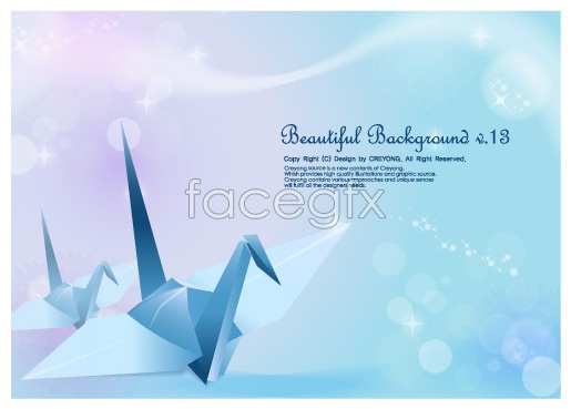 Crane and fantasy backgrounds Vector
