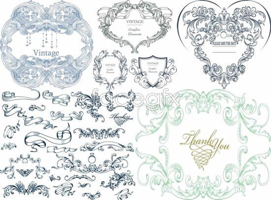 Decorative ribbon lace Vector