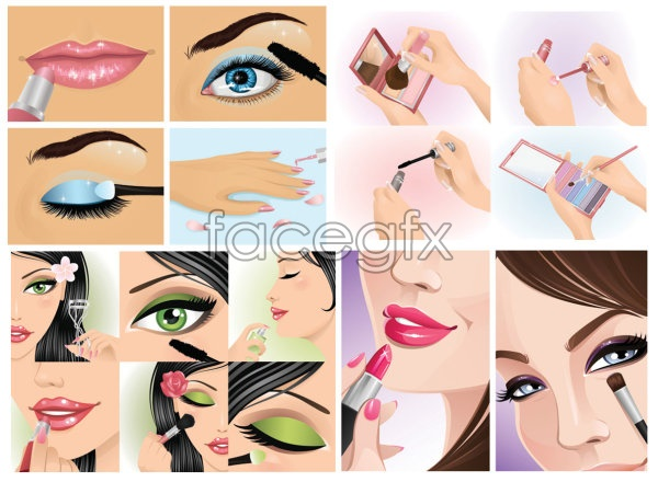 Female makeup moment Vector